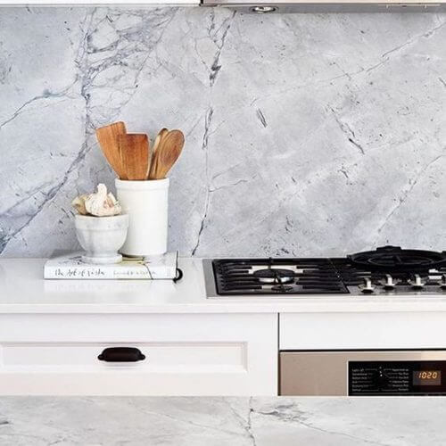 CDK Stone Super White Porcelain Kitchen